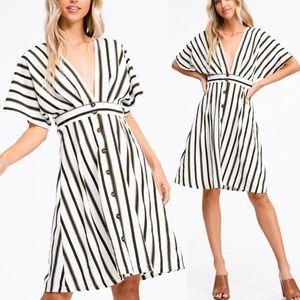 Olive Stripe Button Down Plunging VNeck Midi Dress